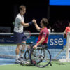 GLASGOW, SCOTLAND - SEPTEMBER 21: Andy Murray and paralympics Gold medal winner Gordon Reid celebrate a point against Tim Henman and Grigor Dimitrov during Andy Murray Live presented by SSE at the SSE Hydro on September 21, 2016 in Glasgow, Scotland. (Photo by Steve Welsh/Getty Images for Andy Murray Live)