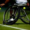 SURBITON, ENGLAND - JULY 06:  Stefan Olsson of Sweden bounces a ball ahead of serving during his match against Gustavo Fernandez of Argentina during day one of the Surbiton Wheelchair Tennis Championships at Surbiton Racket & Fitness Club on July 6, 2017 in Surbiton, England.  (Photo by Jordan Mansfield/Getty Images for LTA)