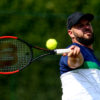 SURBITON, ENGLAND - JULY 06:  Stefan Olsson of Sweden plays a forehand during his match against Gustavo Fernandez of Argentina during day one of the Surbiton Wheelchair Tennis Championships at Surbiton Racket & Fitness Club on July 6, 2017 in Surbiton, England.  (Photo by Jordan Mansfield/Getty Images for LTA)